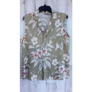 Chicos Design Top Size 2 (12) Sleeveless Tropical